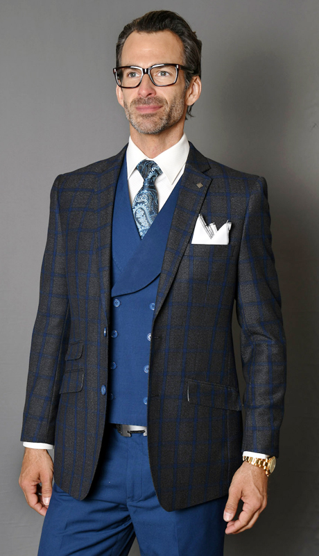 EMILIA-SA ( 3pc Mens Statement Suit With Solid Color Vest And Flat Front Pants, Super 150's )