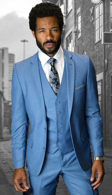Lorenzo STB-CO ( 3pc Mens Statement Suit, Flat Front Pants, Super 150's )