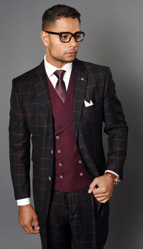LUCCA-BU ( 3pc Mens Statement Plaid Suit With Solid Double Breasted Vest And Pleated Pants, Super 150's )