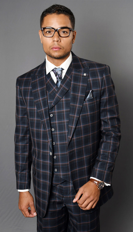 MONTE-NA ( 3pc Mens Plaid Statement Suit With Pleated Pants , Super 150's )