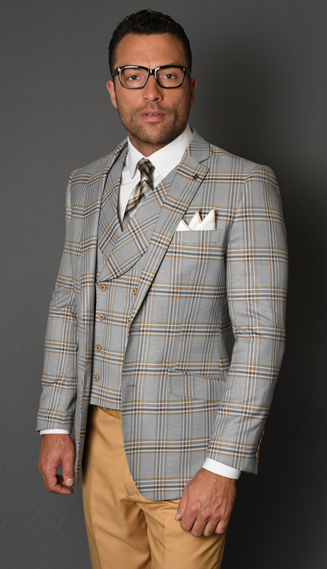 OTRANTO-CA ( 3pc Mens Statement Plaid Suit With Vest And Solid Color Flat Front Pants, Super 150's )