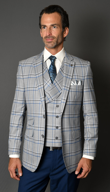 OTRANTO-SA ( 3pc Mens Statement Plaid Suit With Vest And Solid Color Flat Front Pants, Super 150's )