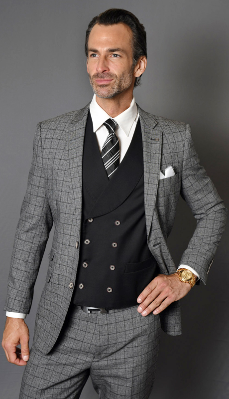 SABINO-CH ( 3pc Mens Statement Suit With Solid Double Breasted Vest And Flat Front Pants, Super 150's )