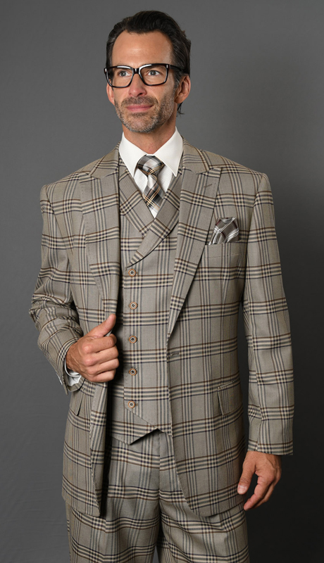 SALERNO-TA ( 3pc Mens Plaid Statement Suit With Double Breasted Vest And Pleated Pants, Super 150's )