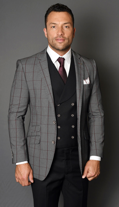 TODOR-BU ( 3pc Mens Statement Suit With Double Breasted Vest, Flat Front Pants, Super 150's )