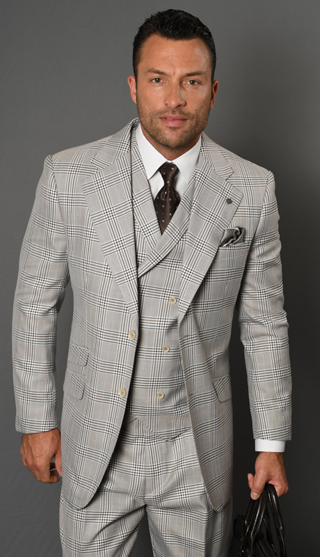 TRIESTE-EA ( 3pc Mens Plaid Statement Suit With Double Breasted Vest And Pleated Pants, Super 150's )