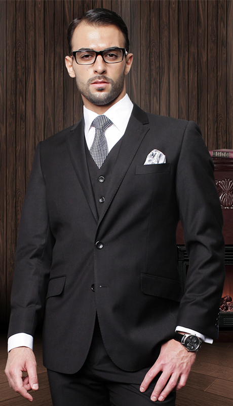 TZ-100-BK-CO ( 3pc Mens Statement Suit With Pleated Pants, Super 150's )