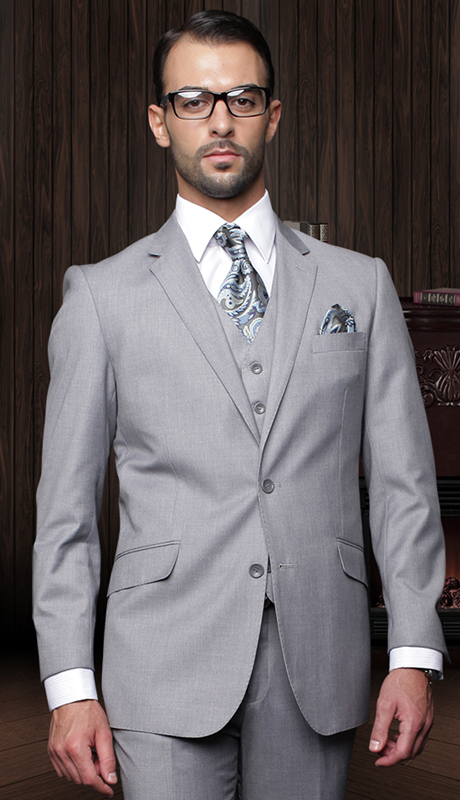 TZ-100-GR-CO ( 3pc Mens Statement Suit With Pleated Pants, Super 150's )