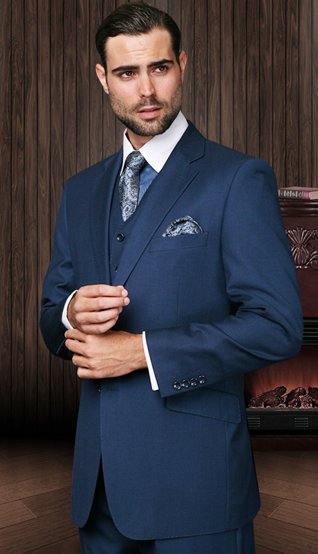 TZ-100-IN ( 3pc Mens Statement Suit With Pleated Pants, Super 150's )