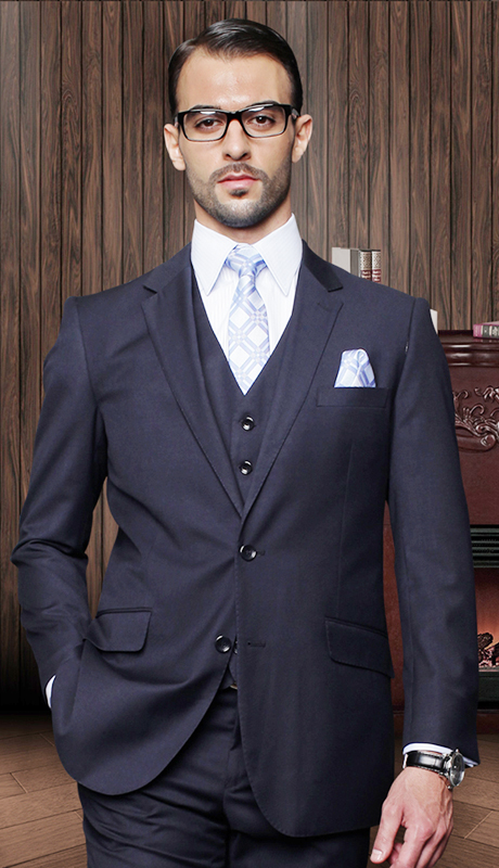 TZ-100-NA ( 3pc Mens Statement Suit With Pleated Pants, Super 150's )