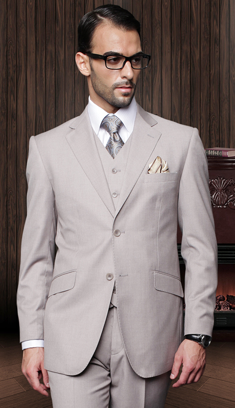 TZ-100-TA ( 3pc Mens Statement Suit With Pleated Pants, Super 150's )