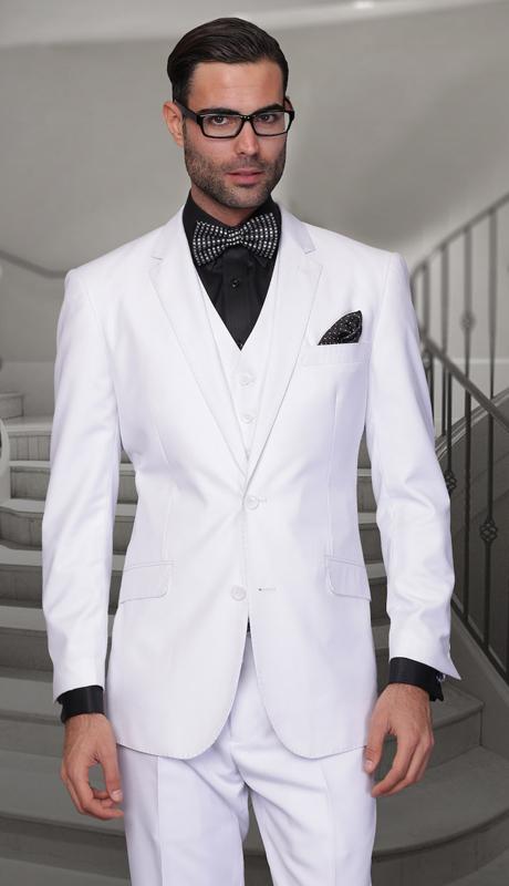 TZ-100-WH ( 3pc Mens Statement Suit With Pleated Pants, Super 150's )