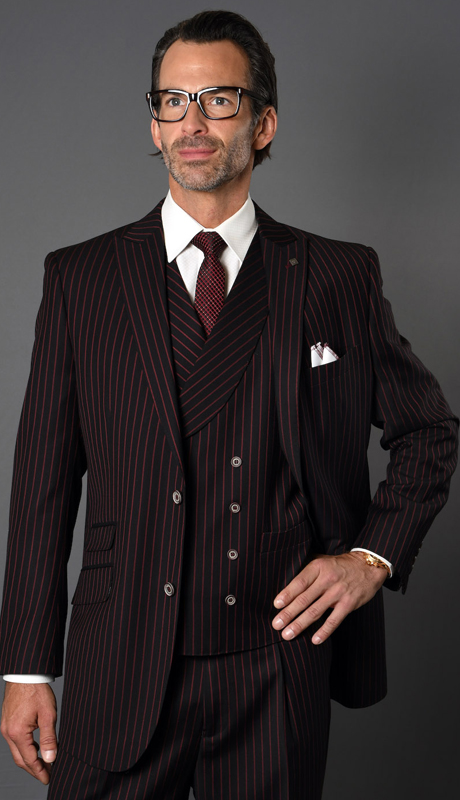 ZARELLI-BR ( 3pc Mens Statement Suit With Pleated Pants, Super 150's )