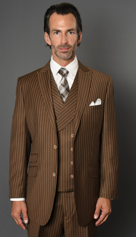 ZARELLI-BZ ( 3pc Mens Statement Suit With Pleated Pants, Super 150's )