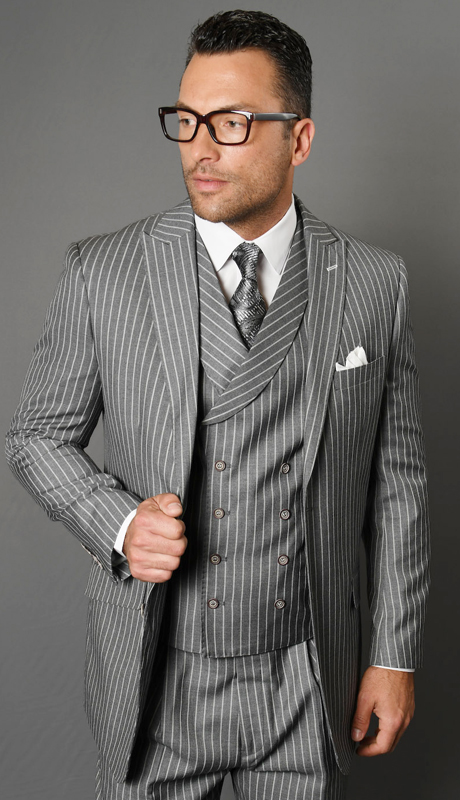ZARELLI-GR ( 3pc Mens Statement Suit With Pleated Pants, Super 150's )