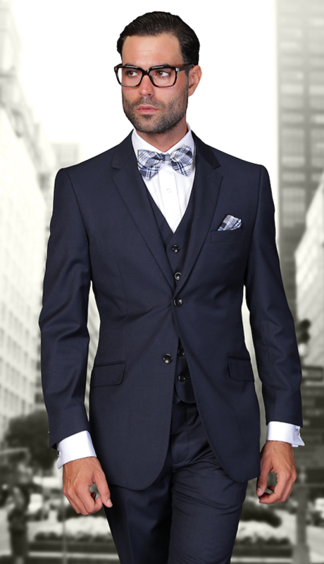 STZV-100 NVY ( 3pc Mens Statement Suit, Flat Front Pants, Super 150's )