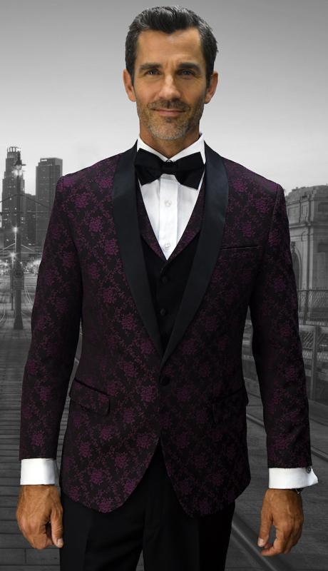 Look-8 BUR ( 3pc Mens Statement Suit Flat Front Pants, Super 150's, Includes Free Matching Bow Tie )