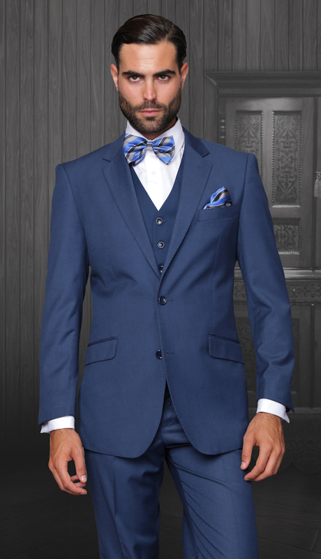 STZV-100 IND ( 3pc Mens Statement Suit, Flat Front Pants, Super 150's )