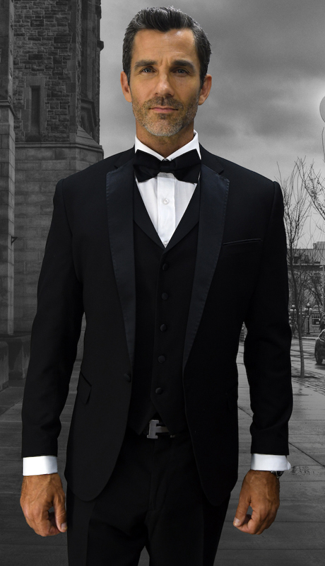 Look-6 BLK ( 3pc Mens Statement Suit Flat Front Pants, Super 150's, Includes Free Matching Bow Tie )