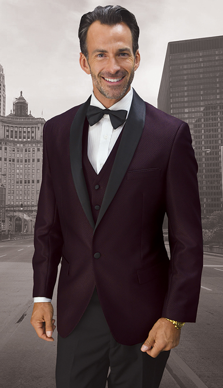 Look-2 PLM ( 3pc Mens Statement Suit Flat Front Pants, Super 150's, Includes Free Matching Bow Tie )