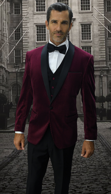 Look-1 BUR ( 3pc Mens Statement Suit Flat Front Pants, Super 150's, Includes Free Matching Bow Tie )