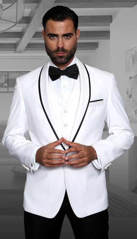 Genova WHT ( 3pc Mens Statement Suit Flat Front Pants, Super 150's, Includes Free Matching Bow Tie )