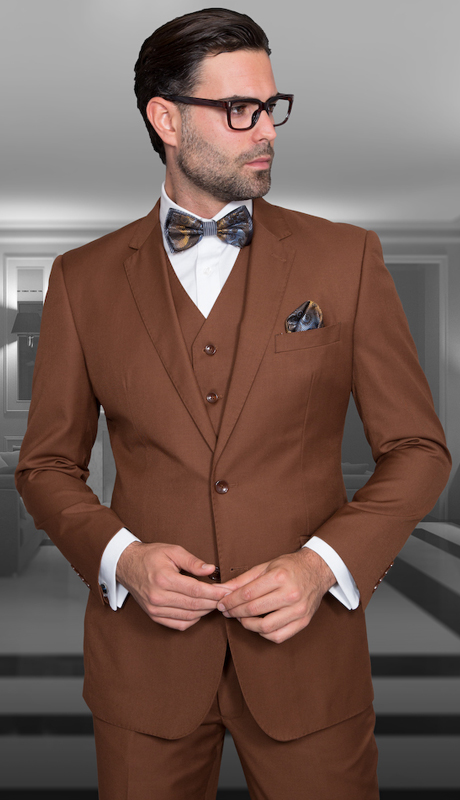 STZV-100 CPR ( 3pc Mens Statement Suit, Flat Front Pants, Super 150's )