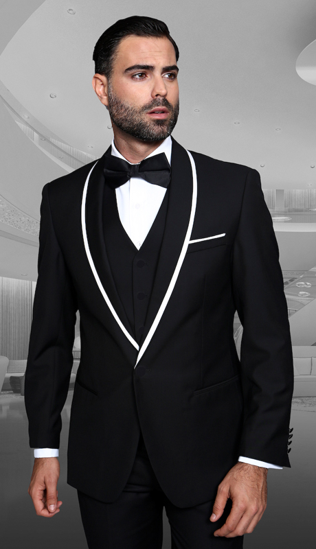 Gevova BLK ( 3pc Mens Statement Suit Flat Front Pants, Super 150's, Includes Free Matching Bow Tie )