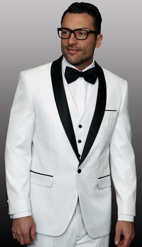 Enzo-7 WHT ( 3pc Mens Statement Suit Flat Front Pants, Super 150's, Includes Free Matching Bow Tie )