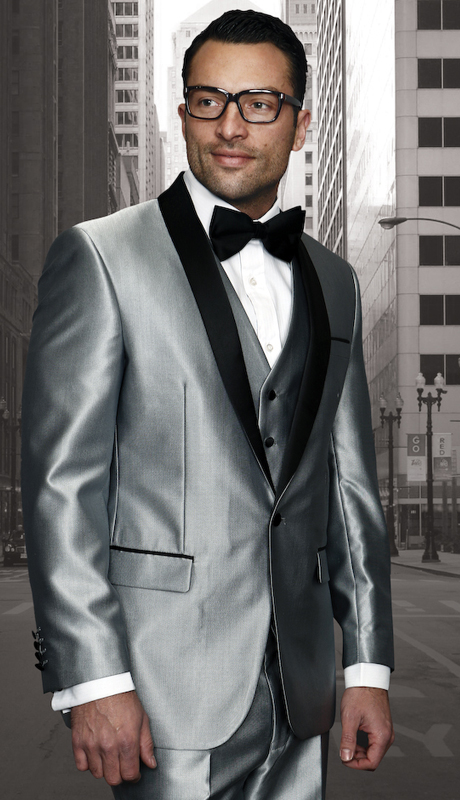 Enzo-7 SLV ( 3pc Mens Statement Suit Flat Front Pants, Super 150's, Includes Free Matching Bow Tie )