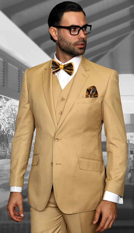 STZV-100 CHST ( 3pc Mens Statement Suit, Flat Front Pants, Super 150's )
