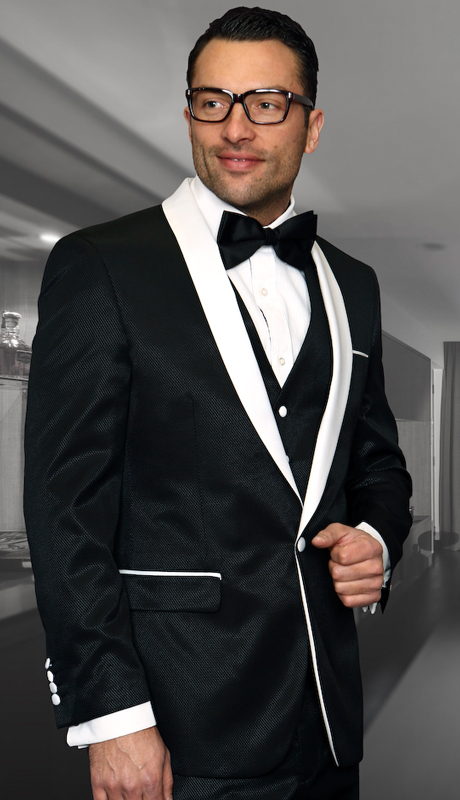 Enzo-6 BLK ( 3pc Mens Statement Suit Flat Front Pants, Super 150's, Includes Free Matching Bow Tie )