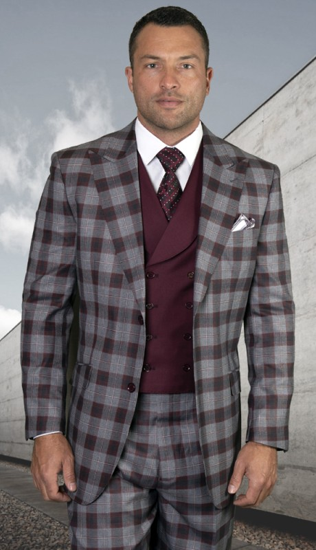 LIVORNO-BU ( 3pc Regular Fit Suit With Pleated Pants, Super 150's )