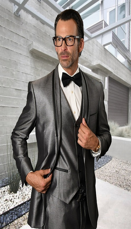 RIO-GR ( 3pc Tailored Fit Tuxedo Suit With Matching Bow Tie And Flat Front Pants )