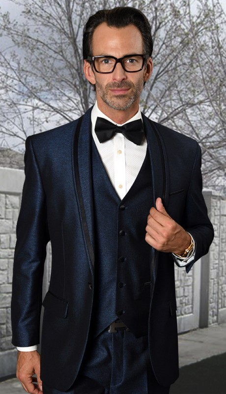 RIO-IN ( 3pc Tailored Fit Tuxedo Suit With Matching Bow Tie And Flat Front Pants )