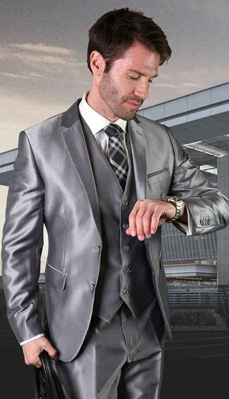 SW-204-GR ( 3pc Sim Fit Suit With Flat Front Pants )
