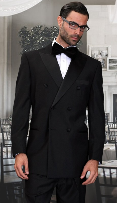 TUX-DB-BK ( 2pc Double Breasted Tuxedo Suit With Regular Fit Pleated Pants, Super 150's )