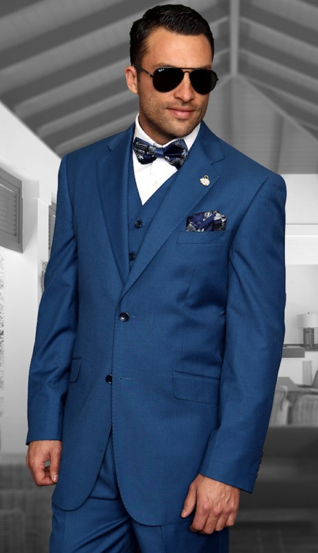 TZ-100-FB ( 3pc Mens Statement Suit With Pleated Pants, Super 150's )