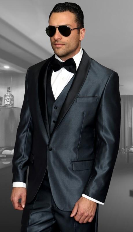 WYNN-BL ( 3pc Mens Statement Suit Flat Front Pants, Super 150's )