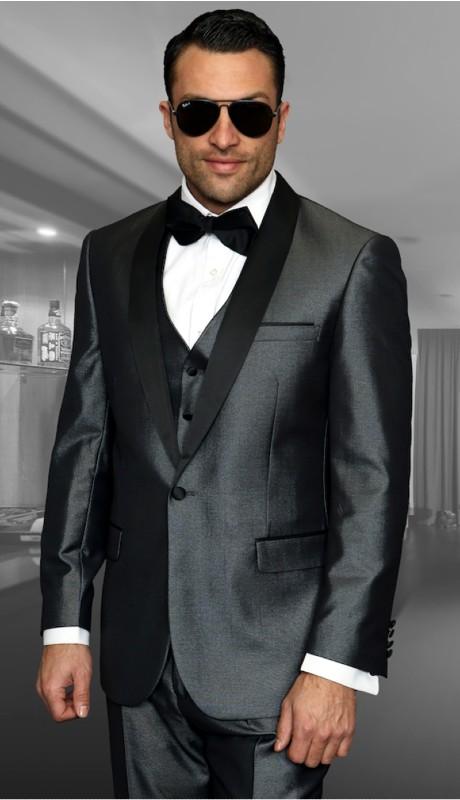 WYNN-CH ( 3pc Mens Statement Suit Flat Front Pants, Super 150's )