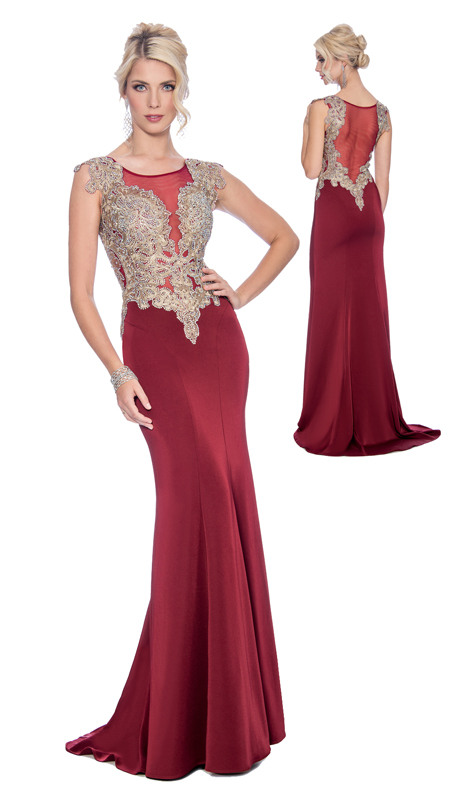 Stella Couture By Serendipity 17049-W ( 1pc Mother Of the Bride Embellished Illusion Trumpet Gown )