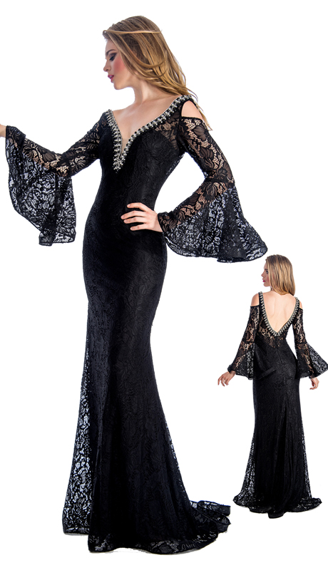 Stella Couture By Serendipity 18099  ( 1pc Floral Lace Flutter Sleeve Gown For Special Occasion)