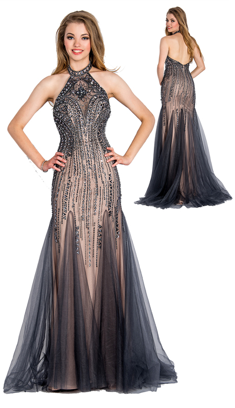 Stella Couture By Serendipity 18103 ( 1pc Illusion Tulle Evening Gown With Sequined And Jewel Embellishment For Special Occasion )