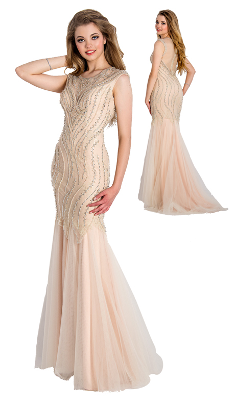 Stella Couture By Serendipity 18120 ( 1Pc Illusion Tulle Evening Gown With Sequined Embellishment For Special Occasion )
