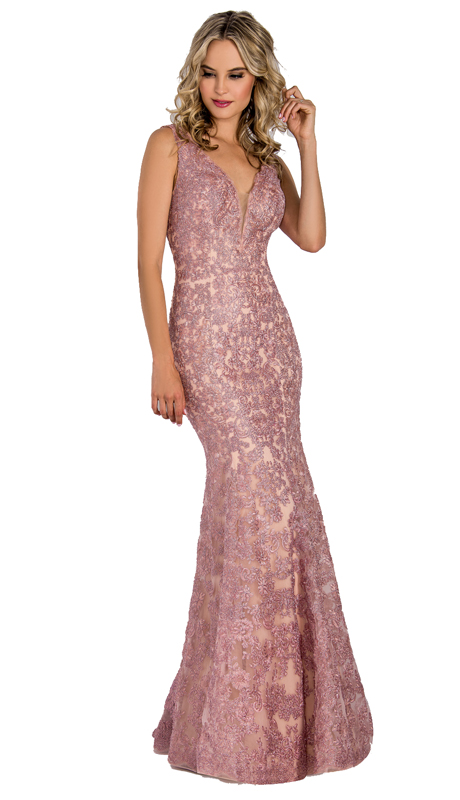 Stella Couture By Serendipity 18127-GR ( 1pc Embellished Lace V Neck Mermaid Evening Gown For Special Occasion )