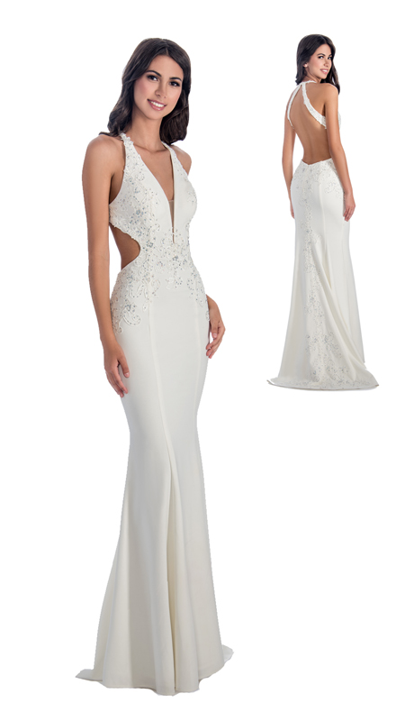 Stella Couture By Serendipity 18128 ( 1Pc Open Back Embellished Sequin Trumpet Gown For Special Occasion )