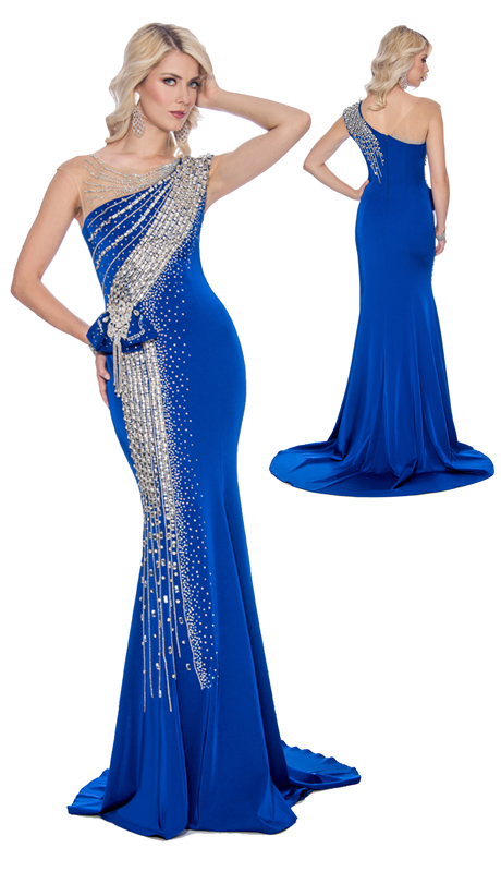 Stella Couture By Serendipity 16190-RO ( 1pc Embellished Sequin And Beaded Mermaid Gown )