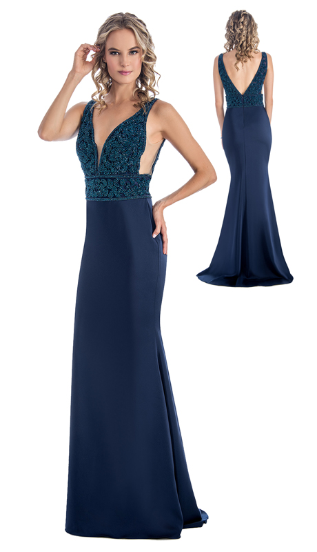Stella Couture By Serendipity 18150 ( 1Pc Sequined V Neck Jersey Gown For Prom )