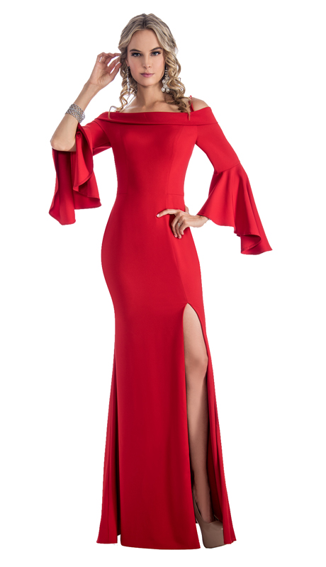 Stella Couture By Serendipity 18152 ( 1Pc Off The Shoulder Ruffled Sleeve Evening Gown For Prom )