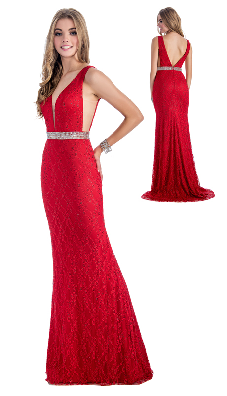 Stella Couture By Serendipity 18161( 1Pc Gown With Beaded Waist and Back Train For Prom )